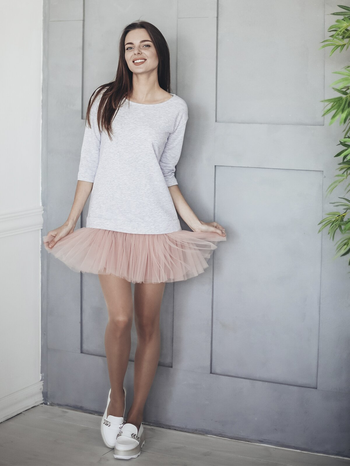 Constructor-dress gray Airdress with removable blush pink skirt